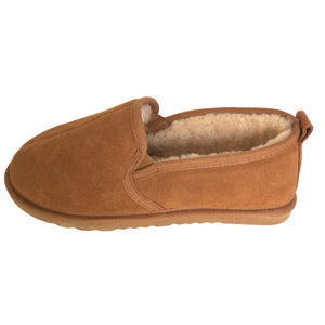 Deluxe Mens 'Liam' Sheepskin Slippers with Hard Sole - Chestnut