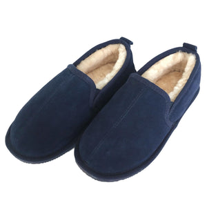 Deluxe Mens 'Liam' Sheepskin Slippers with Hard Sole - Navy