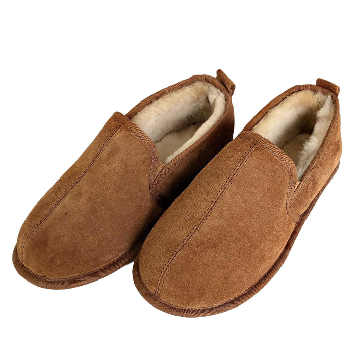 Deluxe Mens 'Liam' Sheepskin Slippers with Soft Sole - Chestnut