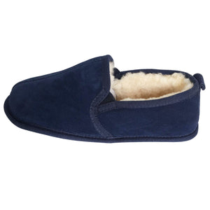 Deluxe Mens 'Liam' Sheepskin Slippers with Soft Sole - Navy