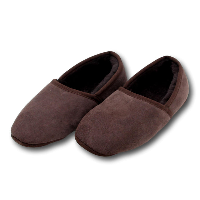 Deluxe Mens 'Noah' Sheepskin Slippers with Soft Sole - Chocolate