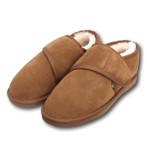 Deluxe Mens 'Sebastian' Extra Wide Sheepskin Slippers with Hard Sole - Chestnut