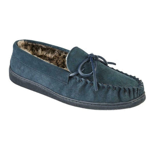 Men's 'Eskdale' Navy Fur Lined Suede Moccasin Slippers