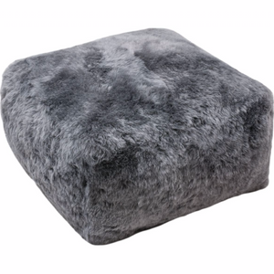 Icelandic Shorn Sheepskin Cube Pouf - Grey