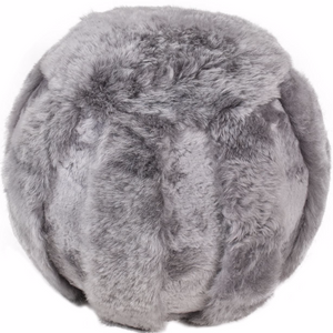 Icelandic Shorn Sheepskin Ottoman - Grey Mixed Wool