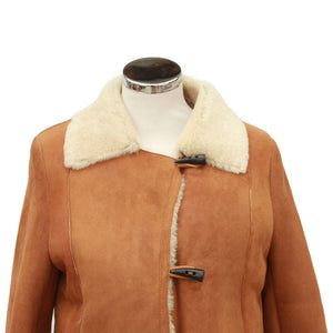 Ladies Anna Suede Sheepskin Coat - Tan