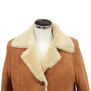 Ladies Annette Suede Leather Sheepskin Coat with Button Fastenings - Tan