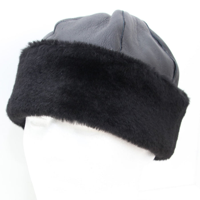Ladies Black Panel Dome Sheepskin Hat - Duxford
