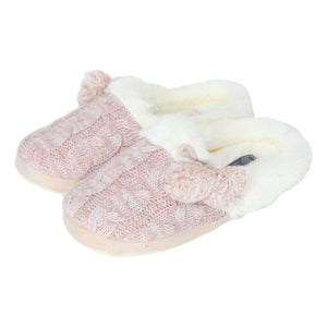 Ladies 'Bracken' Kitted Faux Fur Lined Slippers with Pom Poms - Rose