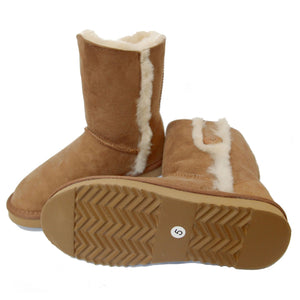 Deluxe Ladies Lacey Button Sheepskin Boots - Chestnut