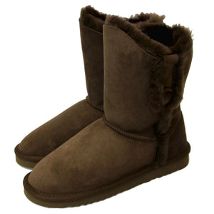 Deluxe Ladies Lacey Button Sheepskin Boots - Chocolate