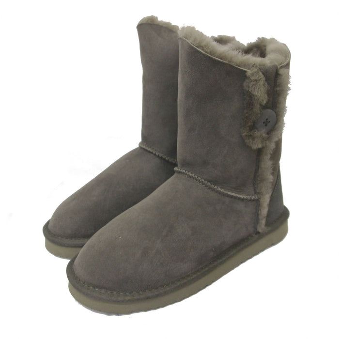 Deluxe Ladies Lacey Button Sheepskin Boots - Grey