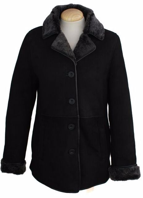 Ladies Chloe Suede Sheepskin Coat - Black