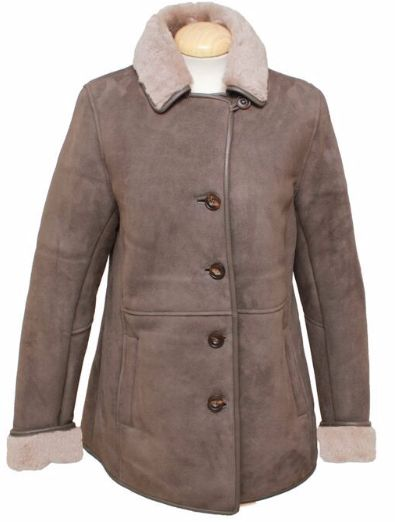 Ladies Chloe Suede Sheepskin Coat - Vison