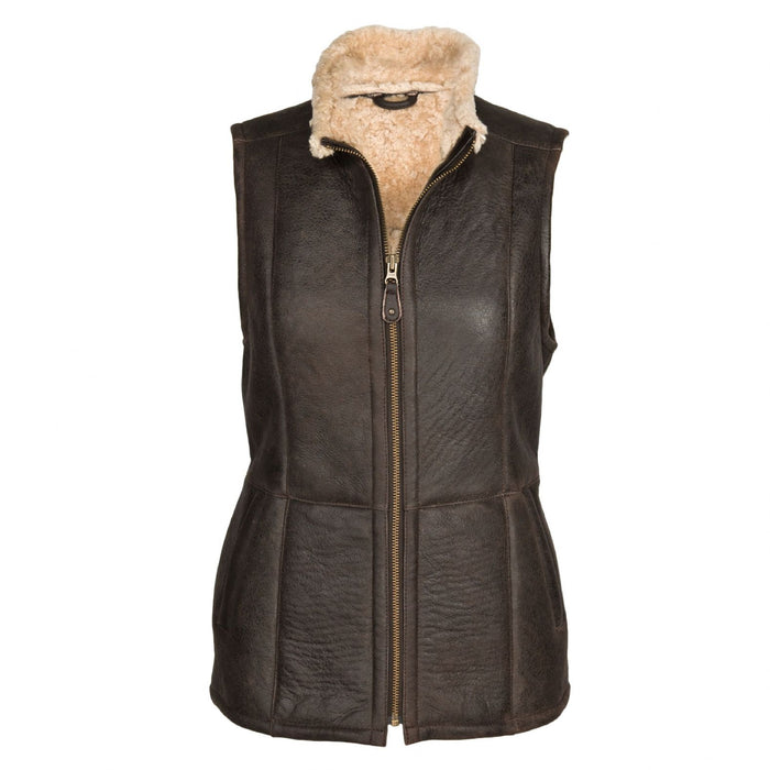 Ladies Gilet Leather Sheepskin Coat - Chocolate