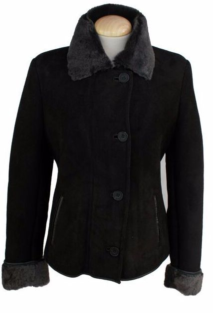 Ladies Jenny Suede Sheepskin Coat - Black