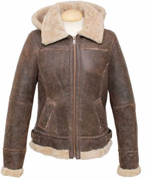 Ladies Jessie Hooded Leather Sheepskin Jacket - Chocolate Forest