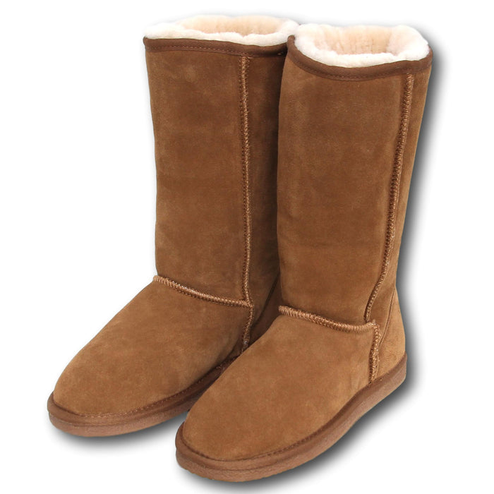 Deluxe Ladies 'Kate' Sheepskin Tall Boots - Chestnut
