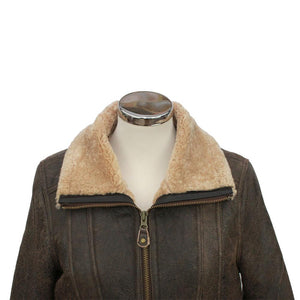 Ladies Krissy Leather Sheepskin Aviator Jacket - Chocolate Forest