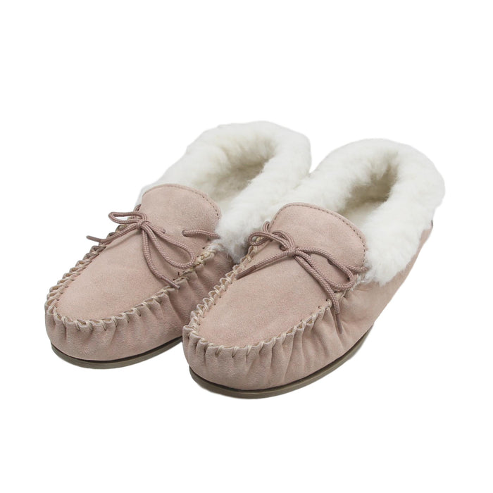 Ladies 'Lucy' Lambswool Moccasin with Hard Sole - Camel
