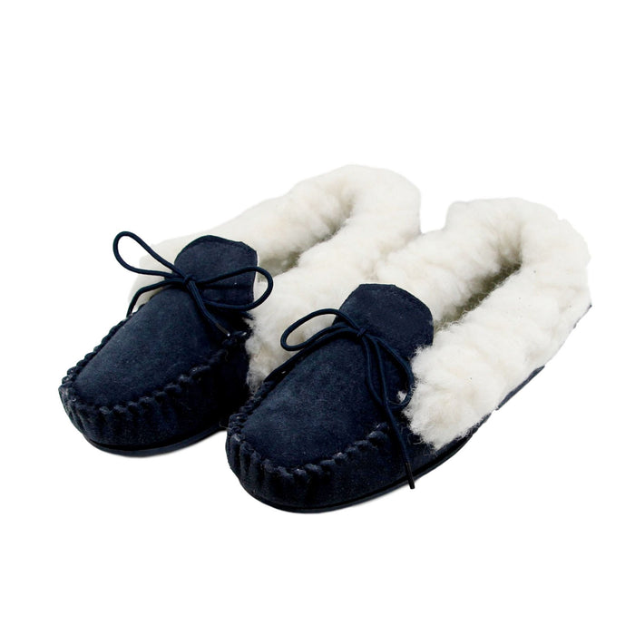 Ladies 'Lucy' Lambswool Moccasin with Hard Sole - Navy