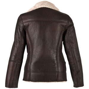 Ladies Mepal Leather Sheepskin Flying Jacket - Caramel