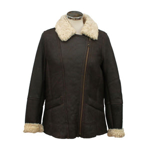 Ladies Mepal Leather Sheepskin Flying Jacket - Dark Brown
