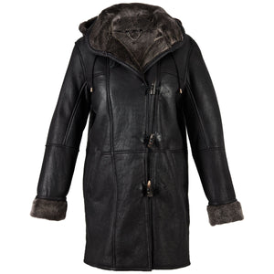 Ladies Millie Leather Sheepskin Duffle Coat - Black