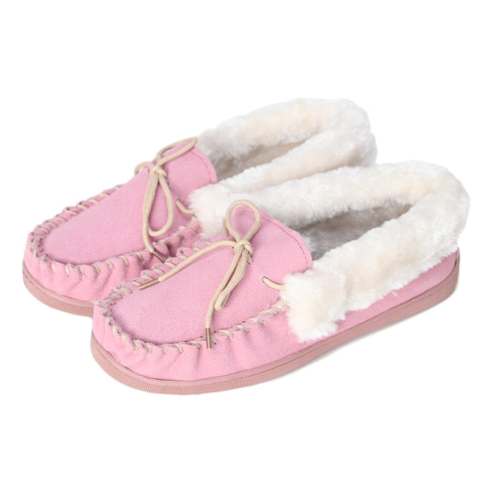 Ladies 'Orkney' Fur Lined Moccasin Slippers - Pink