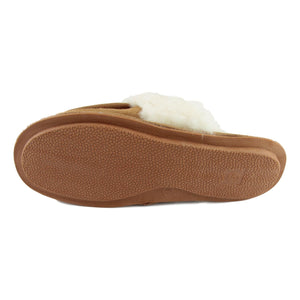 Ladies 'Pat' Lambswool Slipper Mule - Camel