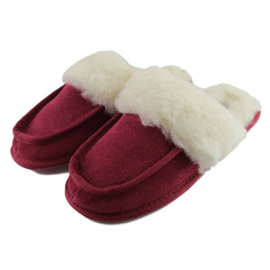 Ladies 'Pat' Lambswool Slipper Mule - Crimson