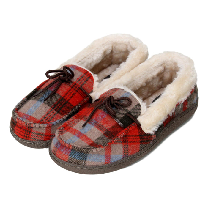 Ladies 'Pembroke' Tartan Faux Fur Moccasin Slippers - Red/Brown