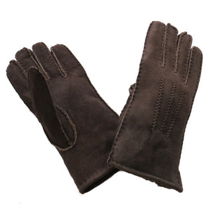 Ladies Sheepskin Glove with Stitch Detail - Coffee