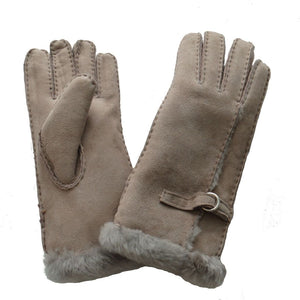 Ladies Sheepskin Glove with Wool Out Detail - Beige