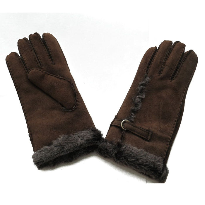 Ladies Sheepskin Glove with Wool Out Detail - Coffee