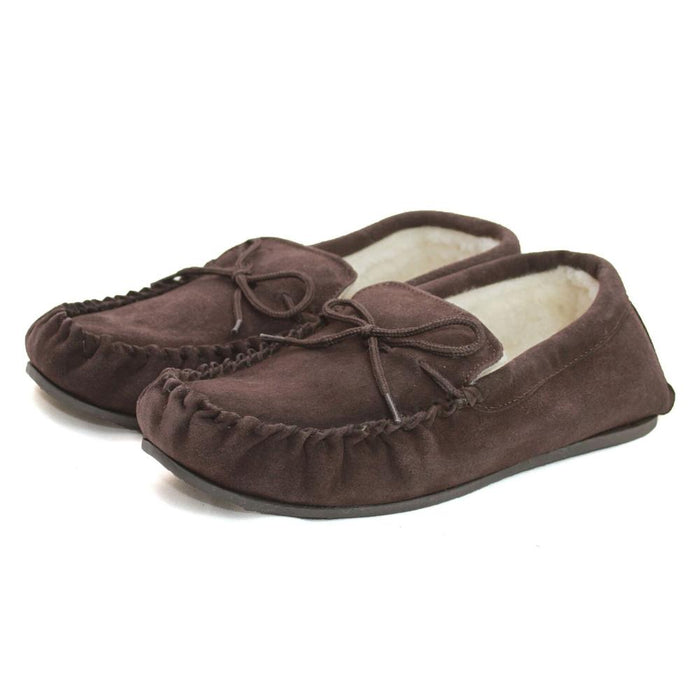 Deluxe Ladies Sheepskin Moccasin with Hard Sole -Brown
