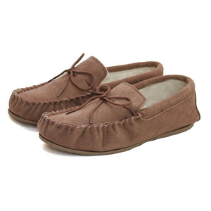 Deluxe Ladies Sheepskin Moccasin with Hard Sole - Camel