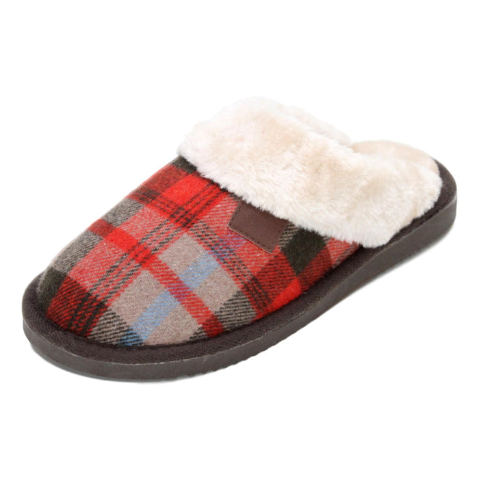 Ladies 'Shetland' Tartan Faux Fur Slipper Mules - Red/Brown