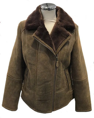 Ladies Sue Flying Aviator Leather & Sheepskin Jacket - Rust-Brown