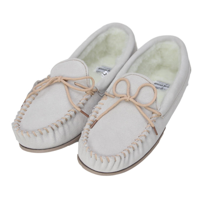 Ladies 'Taylor' Lambswool Moccasin with Hard Sole - Beige