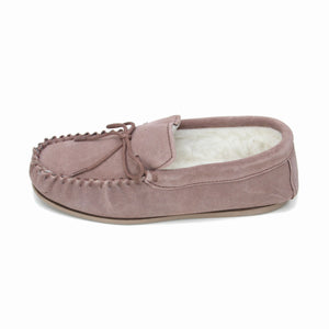 Ladies 'Taylor' Lambswool Moccasin with Hard Sole - Camel
