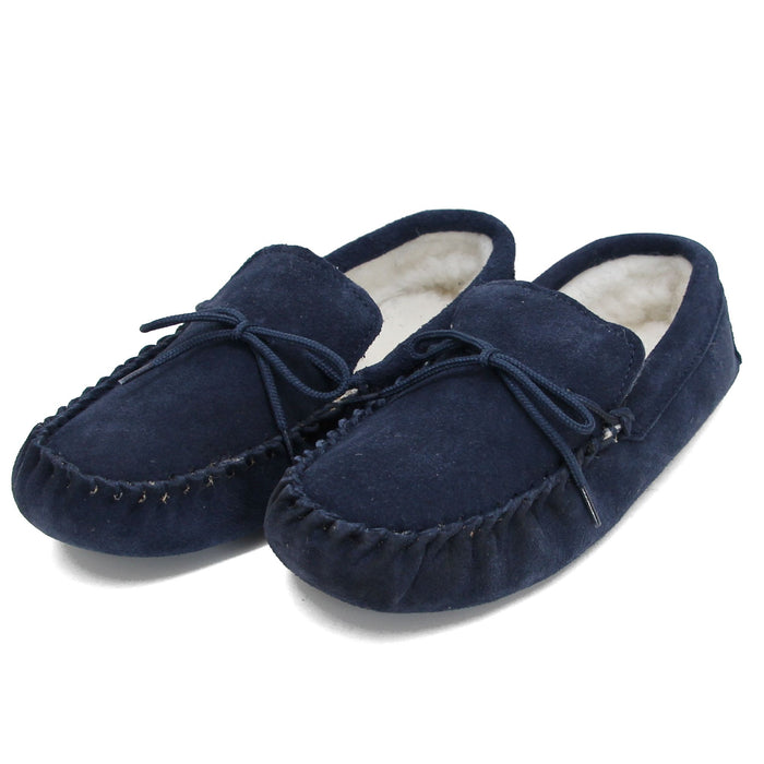 Ladies 'Taylor' Lambswool Moccasin with Soft Sole - Navy