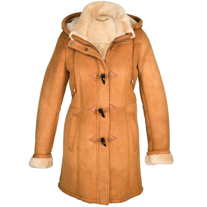 Ladies Vicki Suede Sheepskin Duffle Coat - Tan