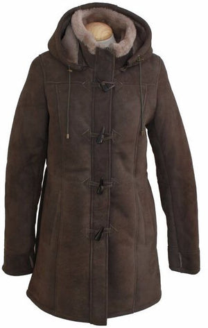 Ladies Vicki Suede Sheepskin Duffle Coat - Vizon