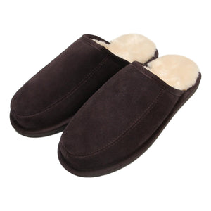 Men's 'Daniel' Lambswool Slipper Mules - Chocolate