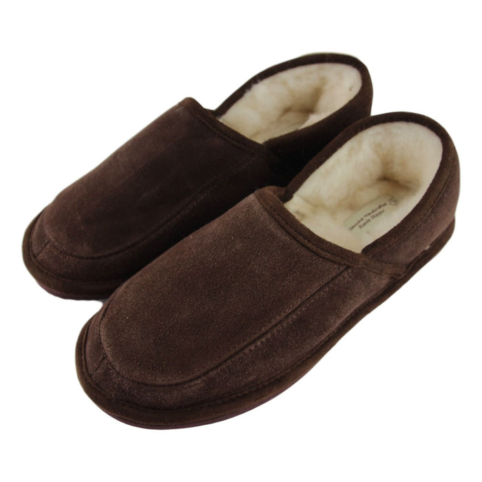 Men's 'Dominic' Lambswool Slippers - Brown