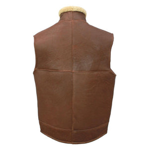 Men's Harvey Gilet Leather Sheepskin Coat - Cognac