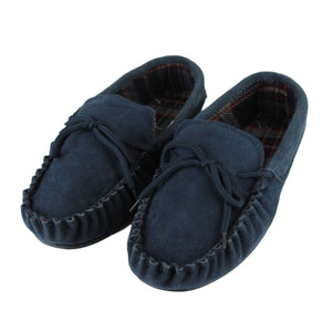 Men's 'Logan' Hardsole Fabric Lined Moccasins - Navy