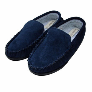 Men's 'Lucas' Berber Fleece Lined Moccasin Slippers - Navy
