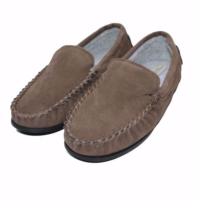 Men's 'Lucas' Berber Fleece Lined Moccasin Slippers - Taupe